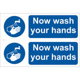 Draper 72162 SS14 2 x Wash Your Hands  Sign Notice