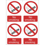 Draper 72166 SS16 4 x No Smoking Prohibition Sign Notice