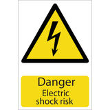 Draper 72225 SS21 Danger Electric Shock Hazard Sign Notice