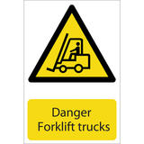 Draper 72360 SS24 Danger Forklift Trucks Hazard Sign Notice