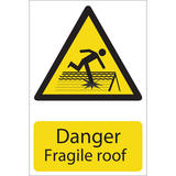 Draper 72395 SS25 Danger Fragile Roof Hazard Sign Notice