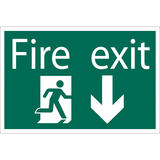 Draper 72446 SS32 Fire Exit Arrow Down Safety Sign Notice