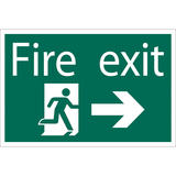 Draper 72447 SS33 Fire Exit Arrow Right Safety Sign Notice