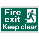 Draper 72450 SS36 Fire Exit Keep Clear Safety Sign Notice