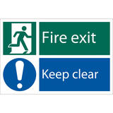 Draper 72458 SS39 Fire Exit Keep Clear Safety Sign Notice
