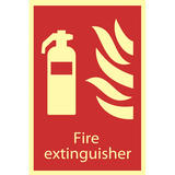 Draper 72598 SS43 Glow In The Dark Fire Extinguisher Fire Equipment Sign