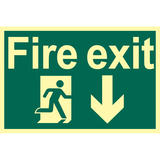 Draper 72600 SS44 Glow In The Dark Fire Exit Arrow Down Safety Sign