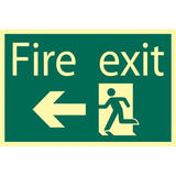Draper 72721 SS46 Glow In The Dark Fire Exit Arrow Left Safety Sign Notice