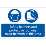 Draper 72870 SS49 Safety Helmets And Protective Footwear Must Be Worn Sign