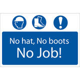 Draper 72916 SS53 No Hat, No Boots, No Job  Sign Notice