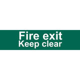 Draper 73221 SS72 Fire Exit Keep Clear Safety Sign Notice