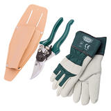 Draper 61412 GSH Bypass Secateurs with Holster & Gardening Gloves (L)
