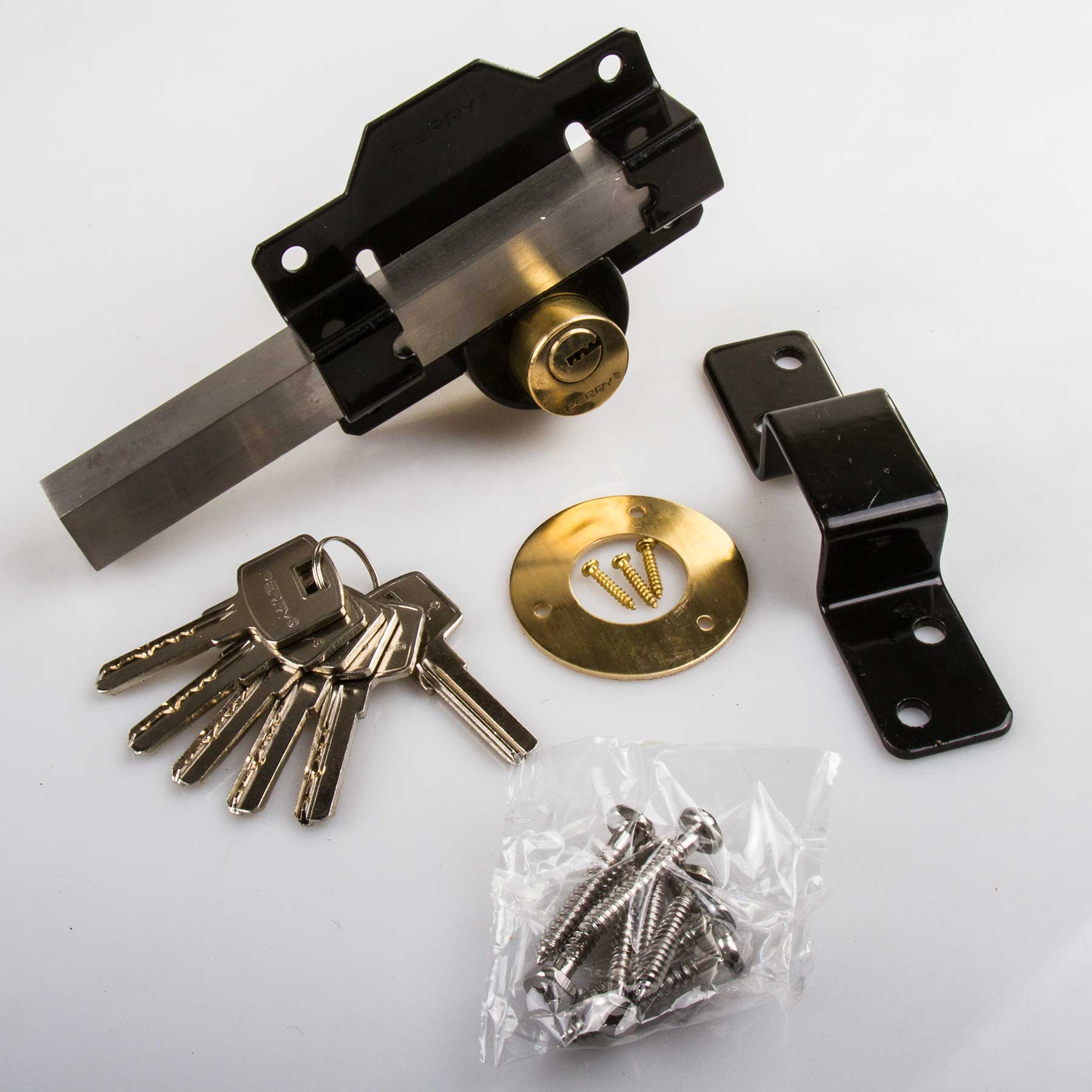 /A Perry High Security Long Throw Garden Gate/Door Lock 5 ...