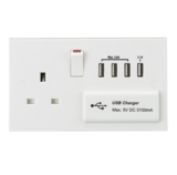Knightsbridge ST7USB4 13A Switched Socket with Quad USB Charger 5V DC 5.1A