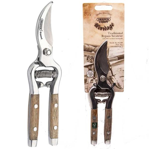 85188 Draper Tools Bypass Secateurs With Ash Handles 210mm