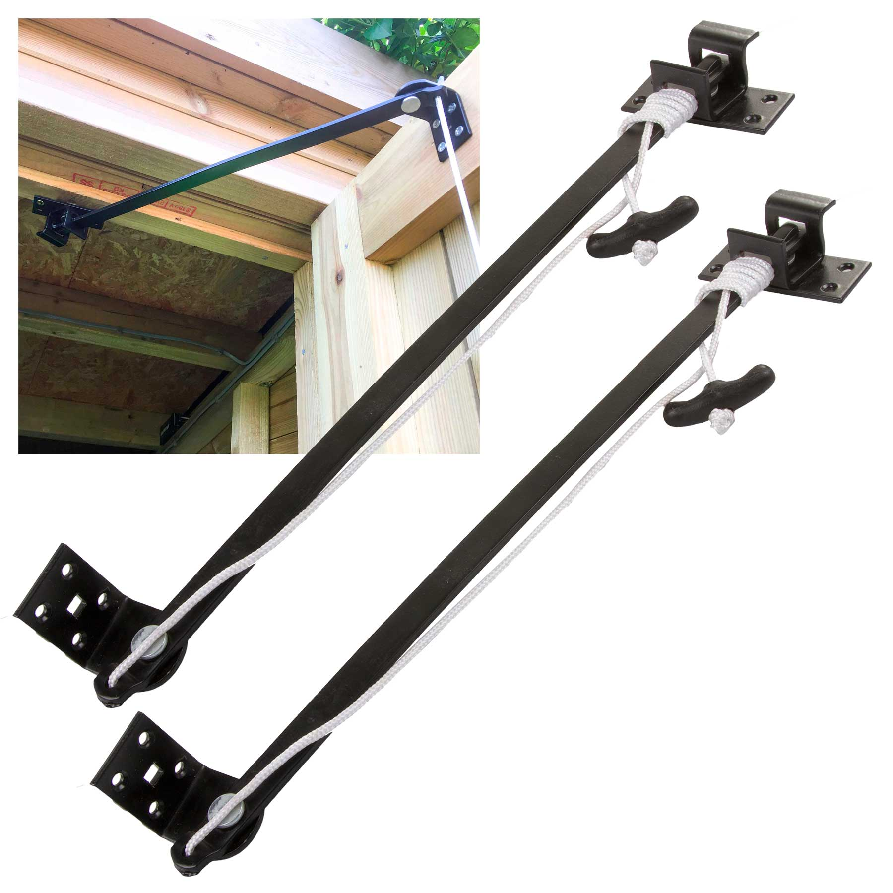 Pair Of Perry 10120000BK No.1012 Junior Reliance Door Holders With Fittings