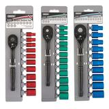"Draper 1/4"" 3/8"" and 1/2"" Colour Coded Socket Sets with Black Ratchet Handles"