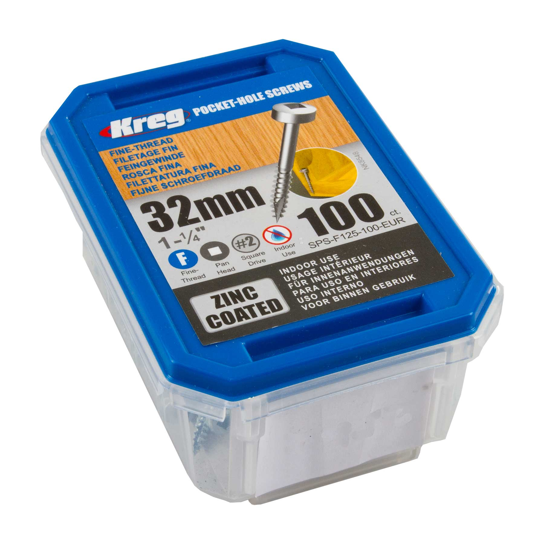 Kreg SPS-F125-100-EUR Zinc Pocket-Hole Screws Pan Head Fine No 6 x 1-1/4