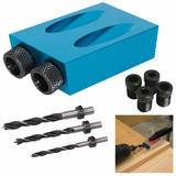 Silverline 868549 Pocket Hole Jig Kit with 342613 Dowel Drill Bit Set (3 Pce)