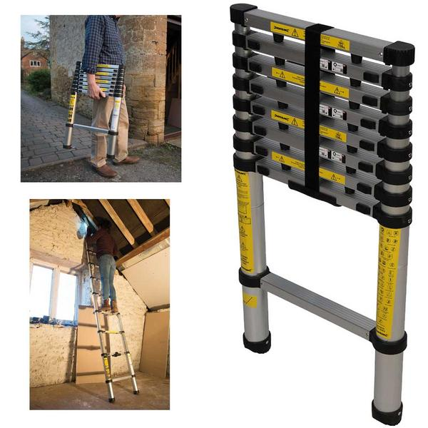 Silverline 452123 Telescopic Aluminium Ladder Thumbnail 1