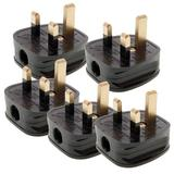 Silverline 488289 Black 13A Fused Plug (Pack of 5)