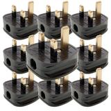 Silverline 488289 Black 13A Fused Plug (Pack of 10)