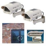 2 x Silverline 614458 Solar Powered Dummy CCTV Camera with LED