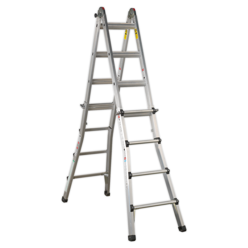 Sealey AFPL3 Aluminium Telescopic Ladder 4-Way EN 131 Adjustable Height