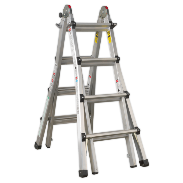 Sealey AFPL3 Aluminium Telescopic Ladder 4-Way EN 131 Adjustable Height Thumbnail 2