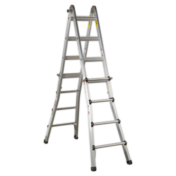 Sealey AFPL3 Aluminium Telescopic Ladder 4-Way EN 131 Adjustable Height Thumbnail 1