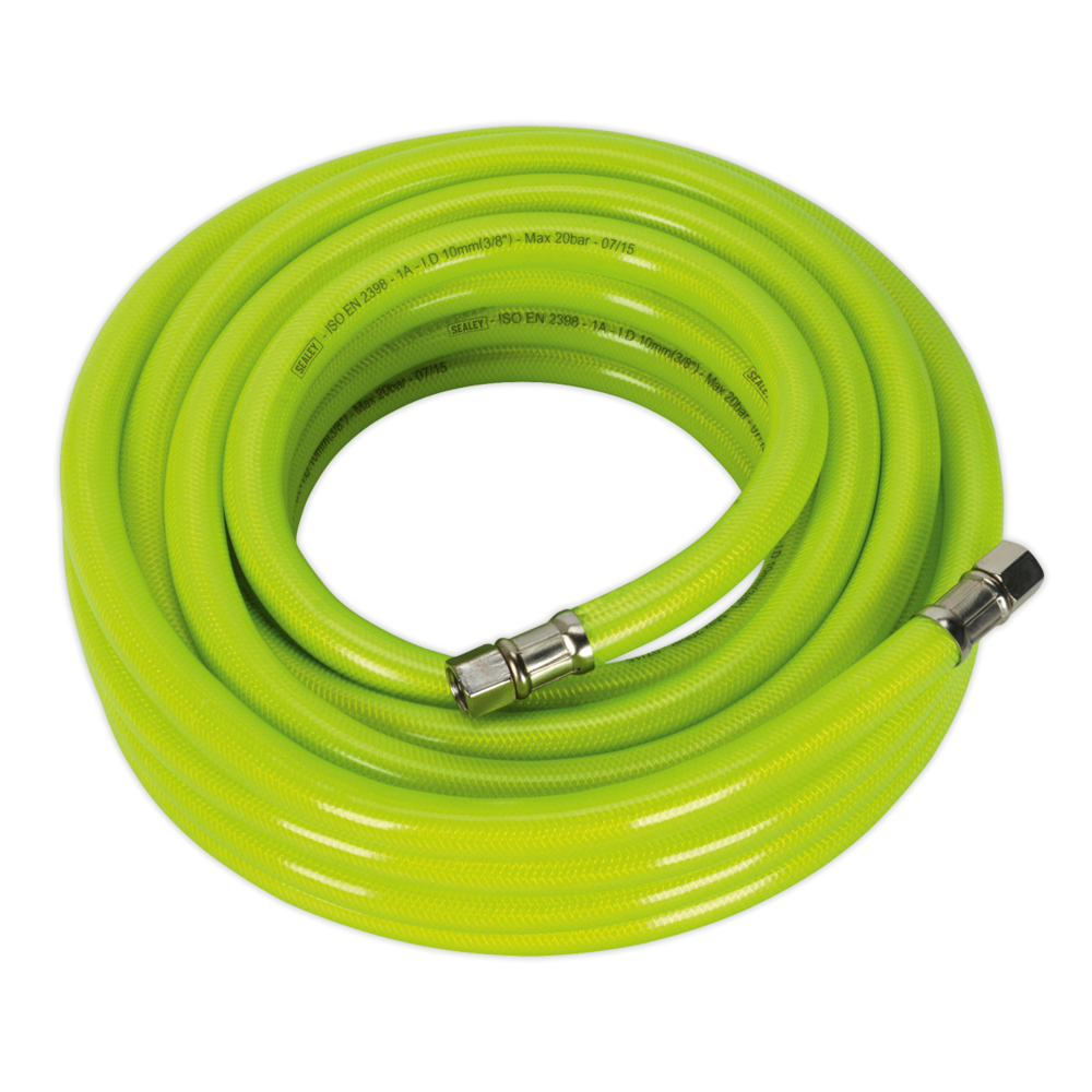 "Sealey AHFC1038 Air Hose High Visibility 10mtr x Ø10mm with 1/4"" BSP Unions"