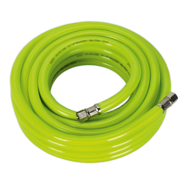 "Sealey AHFC1038 Air Hose High Visibility 10mtr x Ø10mm with 1/4"" BSP Unions Thumbnail 1"