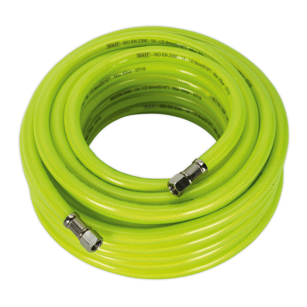 "Sealey AHFC15 Air Hose High Visibility 15mtr x Ø8mm with 1/4"" BSP Unions"