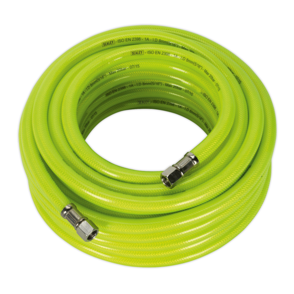 "Sealey AHFC15 Air Hose High Visibility 15mtr x Ø8mm with 1/4"" BSP Unions Thumbnail 1"