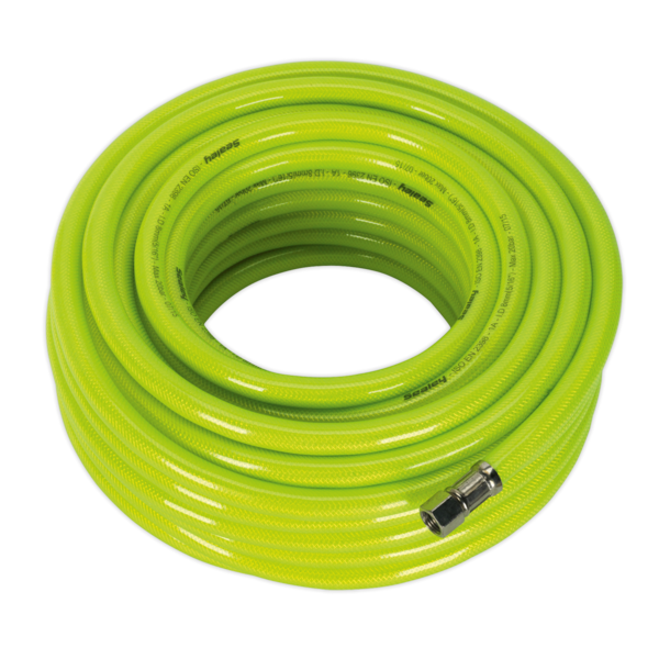 "Sealey AHFC20 Air Hose High Visibility 20mtr x Ø8mm with 1/4"" BSP Unions Thumbnail 1"