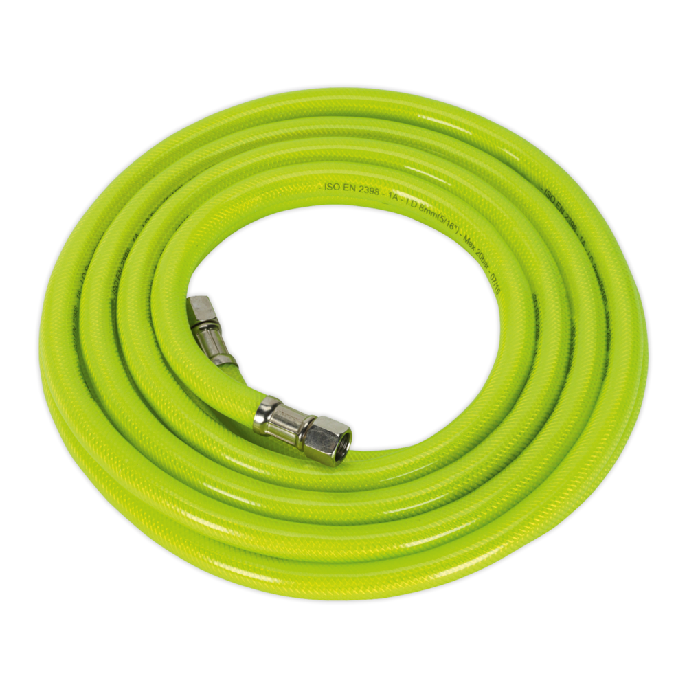 "Sealey AHFC5 Air Hose High Visibility 5mtr x Ø8mm with 1/4"" BSP Unions"
