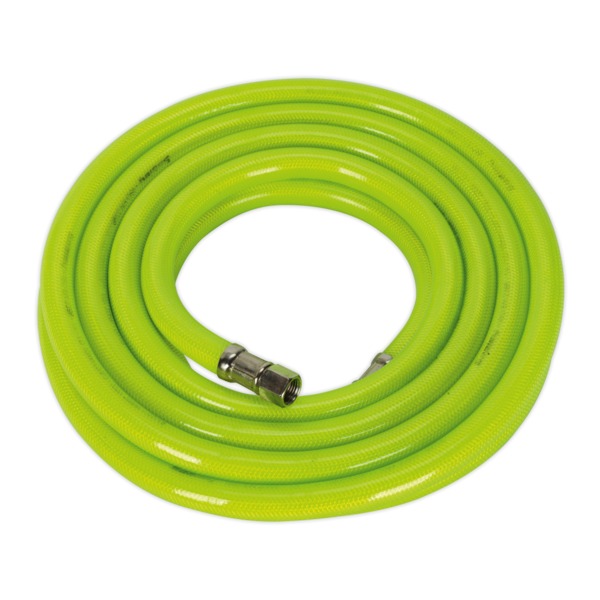 "Sealey AHFC538 Air Hose High Visibility 5mtr x Ø10mm with 1/4"" BSP Unions Thumbnail 1"