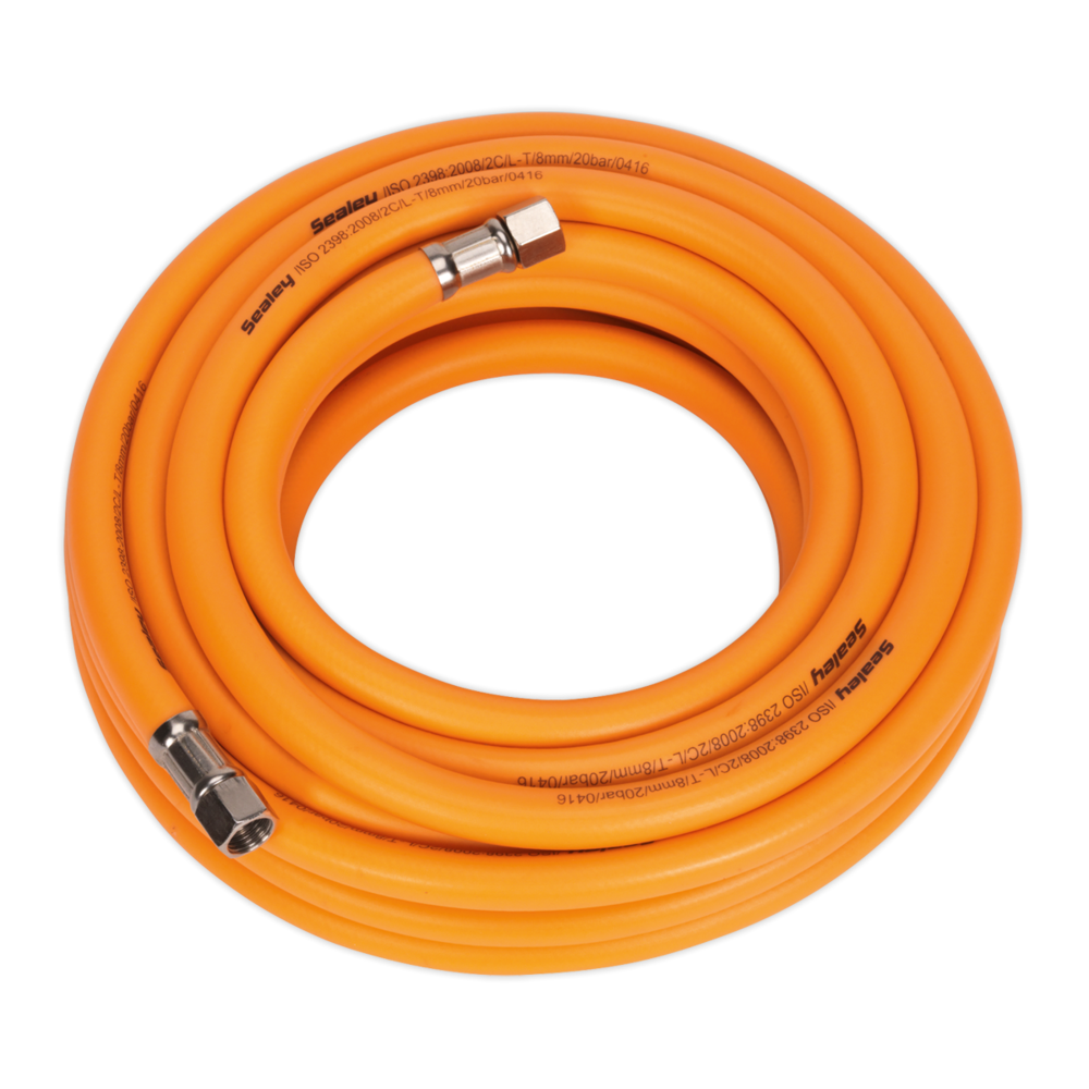 "Sealey AHHC10 Air Hose 10m x Ø8mm Hybrid High Visibility with 1/4"" BSP Unions"