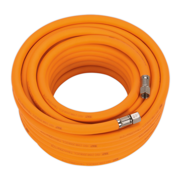 "Sealey AHHC15 Air Hose 15mtr x Ø8mm Hybrid High Visibility with 1/4"" BSP Unions Thumbnail 1"