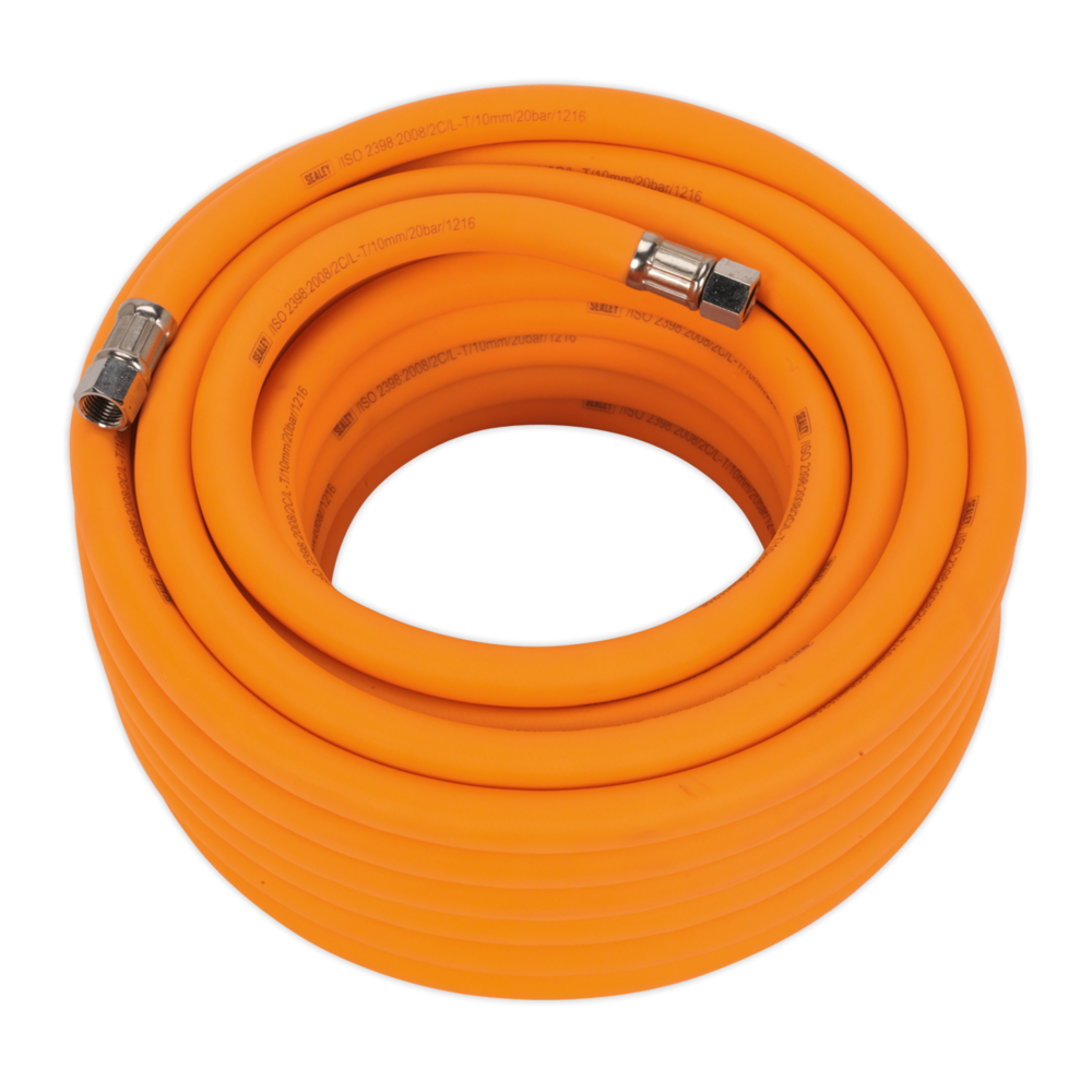"Sealey AHHC1538 Air Hose 15mtr x Ø10mm Hybrid High Vis with 1/4"" BSP Unions"