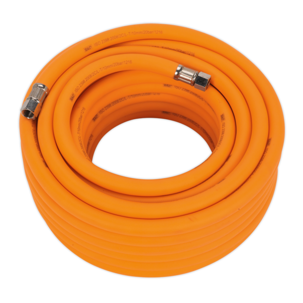 "Sealey AHHC1538 Air Hose 15mtr x Ø10mm Hybrid High Vis with 1/4"" BSP Unions Thumbnail 1"