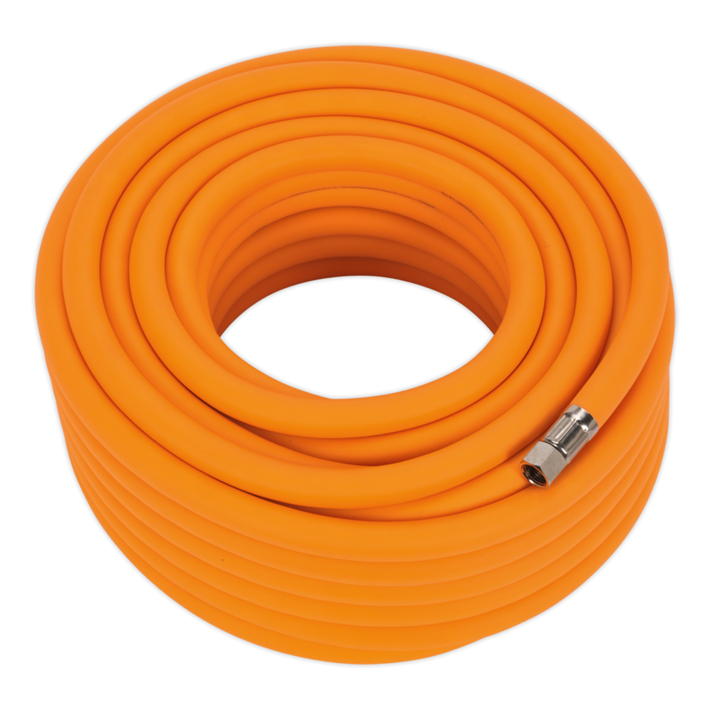 "Sealey AHHC2038 Air Hose 20m x Ø10mm Hybrid High Vis with 1/4"" BSP Unions"