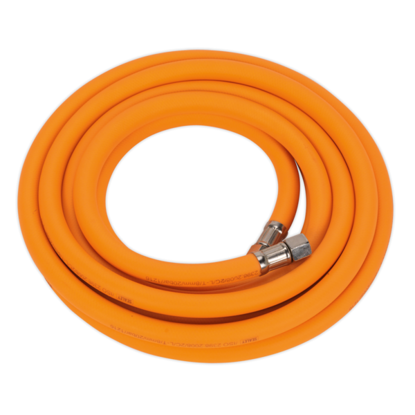 "Sealey AHHC5 Air Hose 5mtr x Ø8mm Hybrid High Visibility with 1/4"" BSP Unions Thumbnail 1"