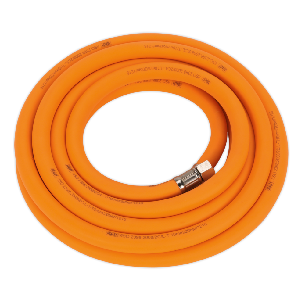 "Sealey AHHC538 Air Hose 5m x Ø10mm Hybrid High Visibility with 1/4"" BSP Unions"