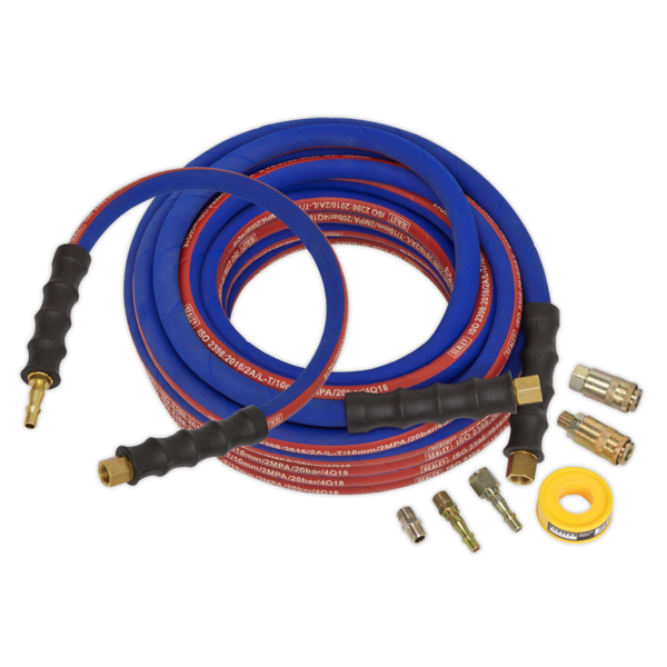 Sealey AHK02 Air Hose Kit Heavy-Duty 15mtr x Ø10mm with Connectors Thumbnail 1
