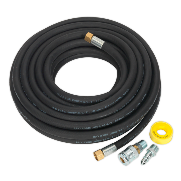 Sealey AHK04 Air Hose Kit 15mtr x Ø13mm High Flow with 100 Series Adaptors Thumbnail 1