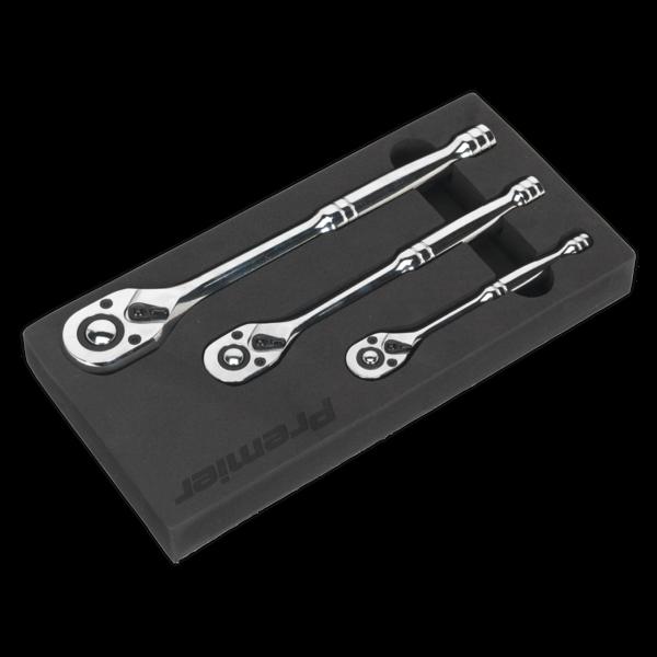 Sealey AK6672 Ratchet Wrench Set 3pc Pear-Head Flip Reverse Thumbnail 3