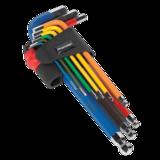 Sealey AK7190 Ball-End Hex Key Set 9pc Colour-Coded Long Metric