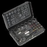 """Sealey AK7977 Socket & Impact Grade Torsion Bit Set 28pc 1/4""""Sq Drive Micro Premier Black Series"""