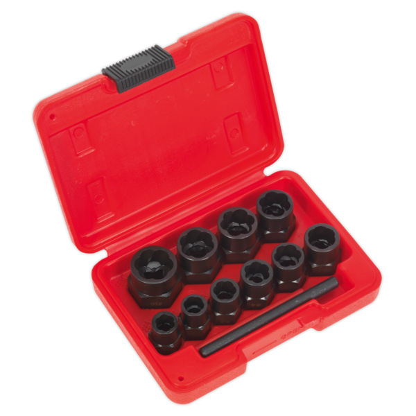 """Sealey AK8184 Bolt Extractor Set 11pc 3/8"""" Sq Drive or Spanner"""